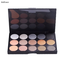 AddFavor 15 Colors Matte Pigment Eyeshadow Palette Cosmetic Mineral Eye Shadow Shining Beauty Makeup Tool Earth Color Eye Shadow