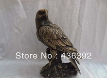 "9"" China Bronze Animals Sculpture Wealth Bird Hawk Figurine Eagle On Tree Statue"