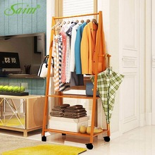 Creative Fashion Hall Hanger Home Coat Rack Storage Bench Coat Rack Wood Modern Rack with 4 Hooks and Wheel YWHBJJ05296