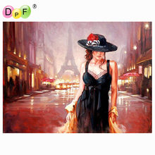 DPF DIY oil Painting French women Paint On Canvas Acrylic Coloring By Numbers painting For living room Decor no frame handmade(China)