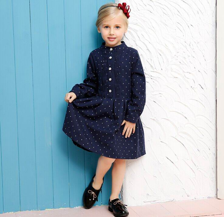 2017 Autumn New England Style Girl Dresses Little Polka Dot Navy Long Sleeve Princess Dress Children Clothing 3-10T 1004<br><br>Aliexpress