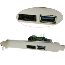 Internal USB 3.0 + Power over eSATA + 9 Pin USB2.0 +External USB3.0 Hybrid to PCI-e Controller Card + low profile bracket(China)