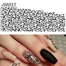 1Sheet Sexy Leopard Nail Art Water Transfer Stickers Black/White Full Wraps Manicure Tools Watermark Nail Tips Decals LAB304