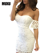 Buy MUXU fashion sexy white lace dresses vestido branco vestidos de festa women clothing sukienka vestido renda summer dress bodycon for $26.78 in AliExpress store