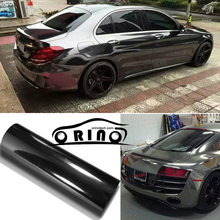 1.52x20m/Roll Premium Stretchable Black Mirror Chrome Vinyl Wrap Car Wrapping Chrome Film Chrome Black Foil Air Bubble Free(China)