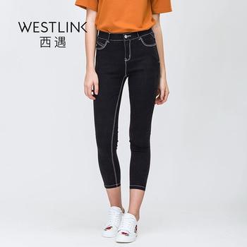 Westlink 2017 Printemps Nouveau Élastique Mince Crayon Pantalon Base Femmes Jeans Denim Pantalon Noir