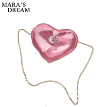 Mara's Dream 2017 New Women Love Heart shape Transparent Jelly Bag PU Chains Solid Shoulder Bags Creative Beach Messenger Bag(China)