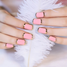 24pcs Hot Sale Acrylic Nail Tips Gold Metal Edge Pink False Nails Full Cover Frosted Designed Fake Nails Z136