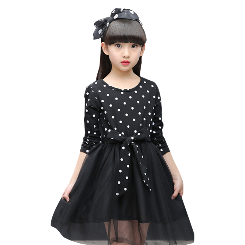 Kids Dresses For Girls Clothes Polka Dot Tulle Princess Party Dress Long Sleeve Children Prom Dress 2 4 6 8 10 12 Years Vestidos<br><br>Aliexpress