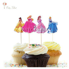 Cup cake 24pcs Toppers for Kids Children Birthday Party Disney Princess Theme Party Cupcake Decoration