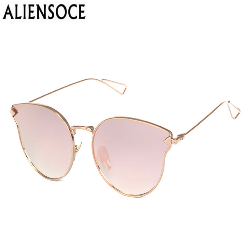 ALIENSOCE Cat Eye Women Sunglasses Lady Fashion Brand Desinger Mirror Flat Lens Sun Glasses Female Hot Sale