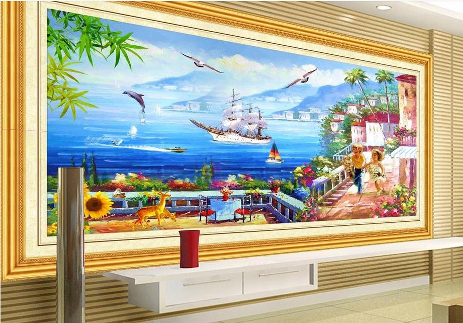 3d stereoscopic Seascape landscape painting  3d wall paper photo murals customized wallpaper for walls 3 d kitchen wallpaper<br><br>Aliexpress