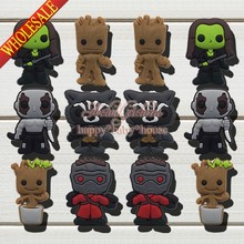 Wholesale Mixed 100PCS Guardians of The Galaxy PVC Shoe Charms Accessories Shoe Ornaments fit Bracelets Bands,Kids Party Gifts