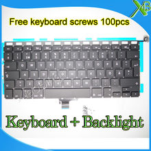 "Brand New For MacBook Pro 13.3"" A1278 SE Sweden Swedish keyboard+Backlight Backlit+100pcs keyboard screws 2008-2012 Years(China)"