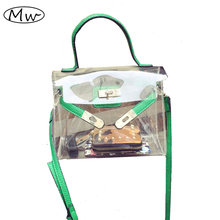 New Fashion PVC Transparent Bag Clear Platinum Package Jelly Beach Bags Small Tote Shoulder Bag Crossbody Bags For Women A751