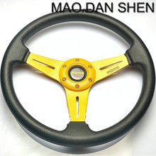 2015 Hot Fashion 14 inch PU leather steering wheel modified car / Universal Racing Wheel / MOMO steering wheel of high-quality