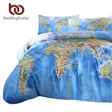 BeddingOutlet 3 Pieces World Map Bedding Set Vivid Printed Blue Quilt Cover Set Super Soft Duvet Cover with Pillow Case For Gift(China)