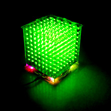 In stock! DIY 3D8s LED mini cubeeds excellent animation / 8x8x8 Kits/Junior,3D green  LED Display,Christmas Gift