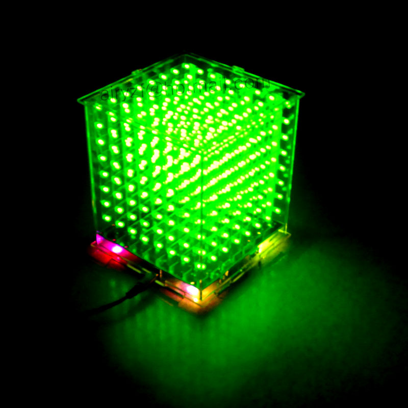 In stock! DIY 3D8s LED mini cubeeds excellent animation / 8x8x8 Kits/Junior,3D green  LED Display,Christmas Gift<br><br>Aliexpress
