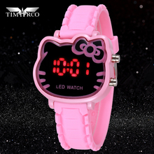 Pink Cute Hello Kitty Children Watches Fashion Cartoon KT Cat Girl Clock Femme Rejores Ladies Dress Saats Enfant Hours Hodinky(China)