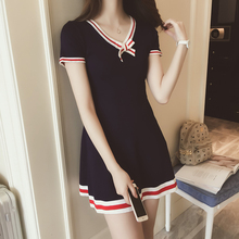 2017 New Preppy Style Dark Blue Knitting Dress Bow V-neck Short Sleeve Cute Dresses Preppy Student Uniforms Lolita Dresses(China)