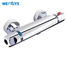MEOTIYS Bathroom Thermostat Faucet Brass Shower Faucet Chrome Thermostatic Mixing Valve Dual Handle Temperature Control