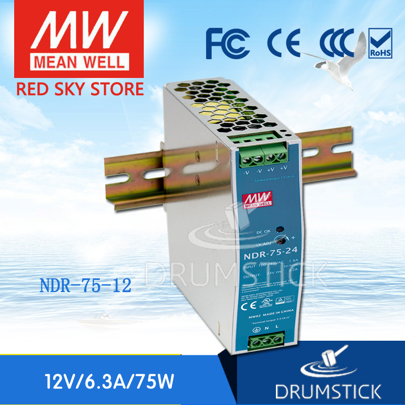 [Free shipping] MEAN WELL NDR-75-12 2Pcs 12V 6.3A meanwell NDR-75 12V 75.6W Single Output Industrial DIN Rail Power Supply<br><br>Aliexpress