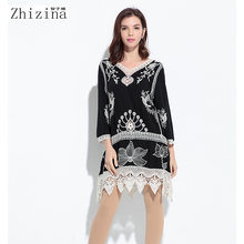 2017 Hot popularity explosion models Crochet Lace Blouse sun in the long beach holiday dress