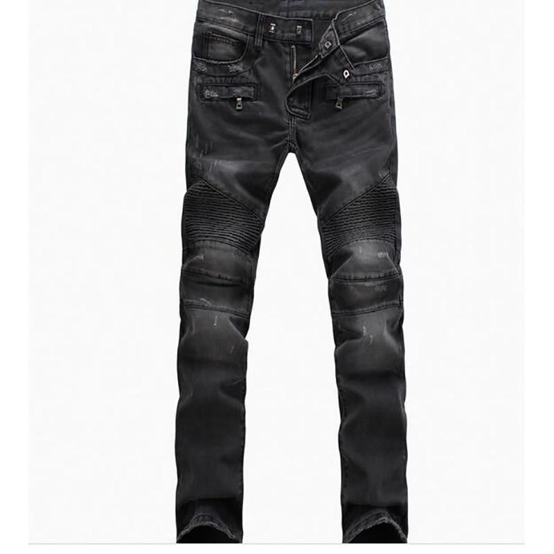 Trousers Denim Motorcycle Pant Jeans Men Pants Fear of God Boost Biker Balmai Man Masculina Ripped Skinny Slim Fit Joggers Black
