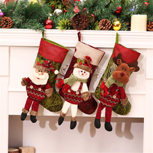 Personalized Christmas Stockings Red Canvas Reindeer Bags With Leg Candy Gifts Filler Socks for Christmas Tree Decorations(China)