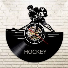 1Piece USA Hockey Led Vinyl Clock Wall Light Color Change Backlight Modern Vintage Handmade Living Room Decorative Wall Clock(China)