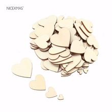 100pcs Wood Nature Heart Love Craft DIY Home Wedding Decoration Art Decorative flatback Wood craft supplies embellishment Gift(China)