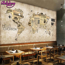 beibehang  papel de parede Europe and the United States Retro World Map Newspaper Bar Cafe Background Wall  3d wallpaper tapety