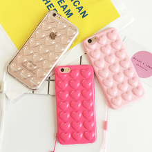 Fashion Candy Color DIY 3D Love Heart Phone Cases For iphone 7 6 6s Plus Case Cute Soft TPU Silicon Back Cover With Lanyard Capa(China)
