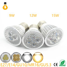E27/GU10/GU5.3/MR16 AC12/85-265V 12W 15W High Bright LED Spotlight Bulb Light Real Watt 110/220V Lamp Bombillas Cool Warm white