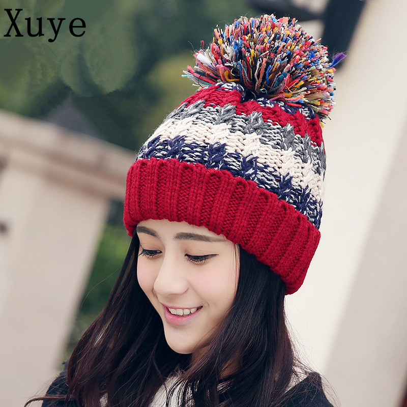 XUYE women knitted Double layer thicken cashmere warm hat girl wool Skullies Beanies fashion cap lady Pompon hats ears capsОдежда и ак�е��уары<br><br><br>Aliexpress