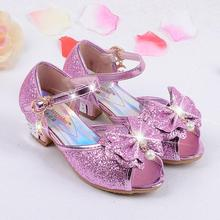 High heels shoes for girls 2017 new girls high-heeled sandals fashion children's sandals Bowknot children's shoes for girls