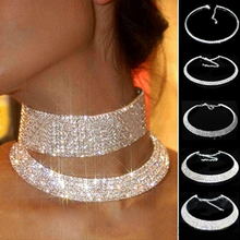Hot Sale Outstanding Shining Crystal Rhinestone Collar Chain Choker Necklace Wedding Birthday Jewelry NL-0729