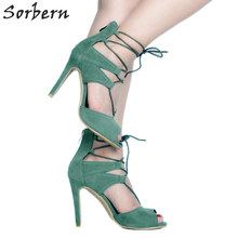 368e1a0abe7 Sorbern Sexy Lace Up High Heel Sandals Stilettos Open Toe Summer Shoes  Womans Shoes Fashions 2018