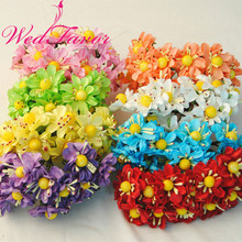 WedFavor 144pcs 3.5cm Artificial Chrysanthemum Mini Scrapbooking Paper Flowers for Wedding DIY Wreath Favor Box Decoration