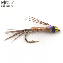 MNFT 10Pcs/Pack 8# Bead Head Silver String Wrapped Body Nymph Flies Trout Fly Fishing Baits(China)
