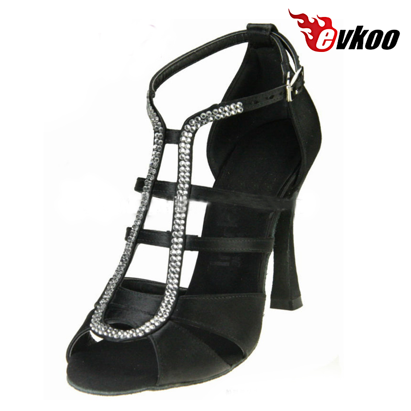 Evkoodance Black Brown With Rhinestone Open Toe 10 cm Heel Height Professional Dancing Latin Shoes For Women Evkoo-444<br>