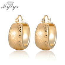 Mytys Small Hoop Earring Gold Color Black Dot Pattern Trendy Fashion Earrings For Women CE251(China)