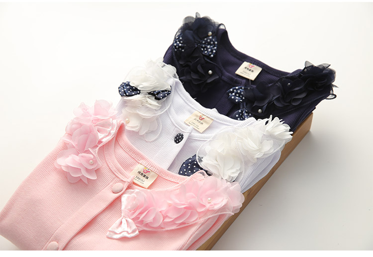 2018 Spring and Autumn Bow Decoration Baby Child Girl Lace Patchwork Pure White and Blue Long-Sleeve Cardigan Top Outerwear (17)