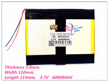 38110114 3.7V 6000mAh Polymer rechargeable batteries PAD GPS PSP DVD Power bank Tablet PC laptop