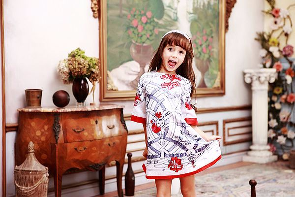 WL MONSOON  Brand Girls Dresses Kids Clothes Princess Dress Half Sleeve Digital Flower Children Dress for Girls Clothes<br>