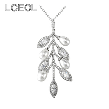 LCEOL  Fashion Accessories 4 PCS Simulated Pearl with Clear Zircon Tree Branch Leaves Pendant Necklaces China Jewelry Market