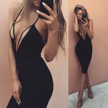 Buy 2017 HOT Fashion Women Dress Bandage Bodycon Slim Sleeveless Deep V-Neck Sexy Ladies Pencil Short Mini Dress Party Summer Dress for $6.19 in AliExpress store