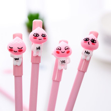 W27 3X Kawaii Cute Pink Peach Emoji Head Gel Pen School Office Supply Writing Signing Student Stationery Black Ink 0.5mm(China)