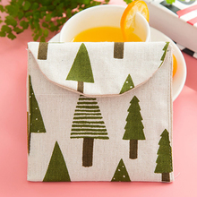 Cartoon Linen Storage Bag Sanitary Napkins Napkin Package Cute Retro Purse Storage Bag Christmas Tree Pine House Personality